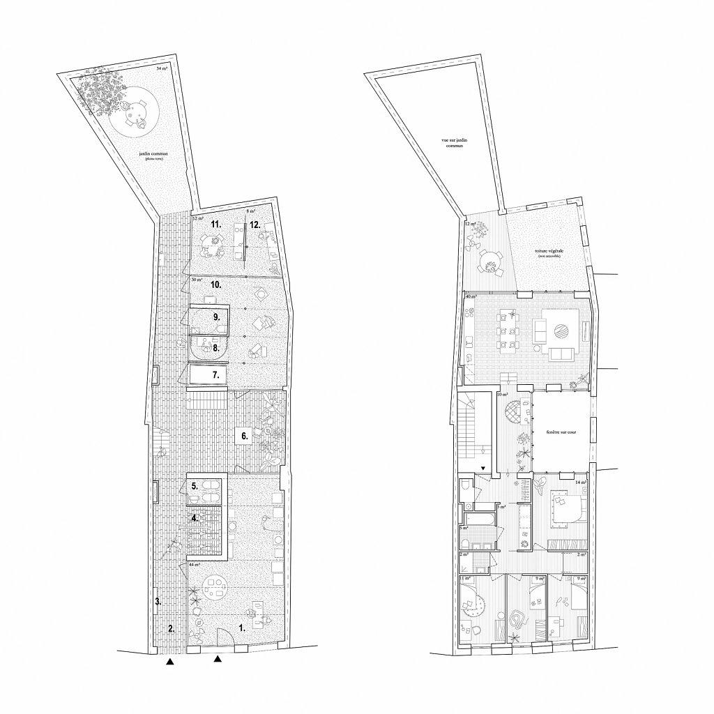 H342_Plan 1e et 2e étages